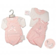 BIS-2020-2421: Baby Girls Swan 3 Piece Outfit (NB-6 Months)