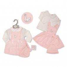 BIS-2020-2422: Baby Girls Swan 3 Piece Outfit (NB-6 Months)