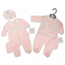BIS-2020-2423: Baby Girls Swan Smocked All In One & Hat Set  (NB-6 Months)