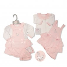 BIS-2020-2424: Baby Girls Swan 3 Piece Outfit (NB-6 Months)