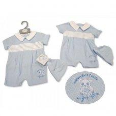 BIS-2100-2247: Baby Boys Smocked Romper with Hat - Panda (NB-6 Months)