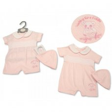 BIS-2100-2251: Baby Girls Smocked Romper with Hat - Panda (NB-6 Months)