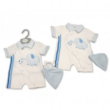 BIS-2100-2257: Baby Boys Romper with Hat - Elephant (NB-6 Months)