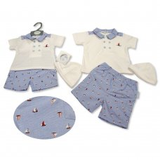 BIS-2100-2264: Baby Boys 2 Piece Set with Hat - Sailing (NB-6 Months)