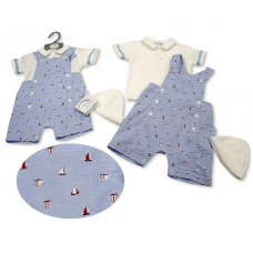 BIS-2100-2265: Baby Boys 2 Piece Dungaree Set with Hat - Sailing (NB-6 Months)