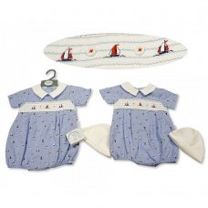 BIS-2100-2266: Baby Boys Smocked Romper with Hat - Sailing (NB-6 Months)