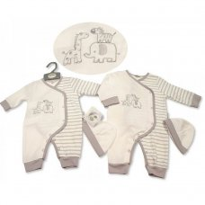 BIS-2100-2273: Baby Unisex All In One with Hat - Zebra (NB-6 Months)