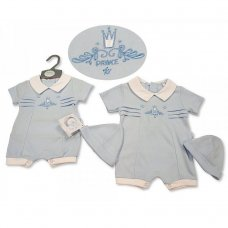 BIS-2100-2275: Baby Boys Romper with Hat - Prince (NB-6 Months)