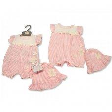 BIS-2100-2276: Baby Girls Romper with Hat - Flower (NB-6 Months)