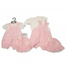 BIS-2100-2277: Baby Girls 2 Piece Dungaree Set with Hat - Flower (NB-6 Months)