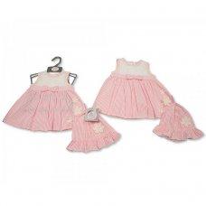 BIS-2100-2278: Baby Girls Dress with Hat - Flower (NB-6 Months)
