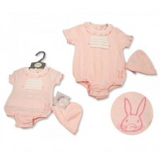 BIS-2100-2289: Baby Girls Romper with Hat - Bunny (NB-6 Months)