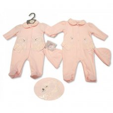 BIS-2100-2292: Baby Girls All-In-One with Lace and Hat Set (NB-6 Months)