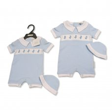 BIS-2100-2298: Baby Boys Smocked Romper with Hat (0-9 Months)