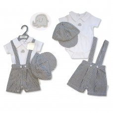 BIS-2100-2312: Baby Boys Stripe 3 Piece Outfit (NB-6 Months)