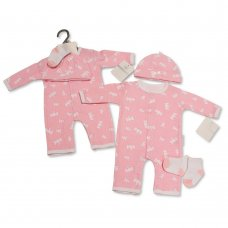 BIS-2100-2313: Baby Girls Animal Print All-In-One, Hat & Socks Set (NB-3 Months)