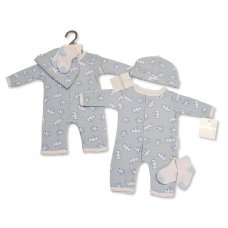 BIS-2100-2314: Baby Boys Animal Print All-In-One, Hat & Socks Set (NB-3 Months)