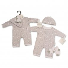 BIS-2100-2315: Baby Unisex Animal Print All-In-One, Hat & Socks Set (NB-3 Months)
