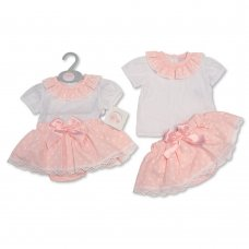 BIS-2100-2316: Baby Girls Heart Print 2 Piece Set with Bow (0-9 Months)