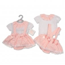 BIS-2100-2317: Baby Girls Heart Print 2 Piece Set with Bows (0-9 Months)