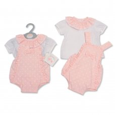 BIS-2100-2318: Baby Girls Heart Print 2 Piece Set with Bow (NB-6 Months)