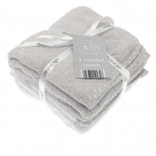 BIT194313: 2 Pack Baby Hooded Towels- Grey