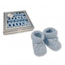 BSS-116-359S: Knitted Tie-Up Baby Bootees - Sky (0-3 Months)