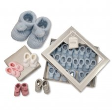 BSS-116-377: Knitted Baby Bootees with Pom Poms