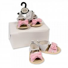 BSS-116-482: Baby Girls Sandals - Gingham Bow (0-12 Months)