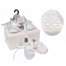 BSS-116-818: Baby Boys Christening Shoes with Embroidery Stitch (0-12 Months)