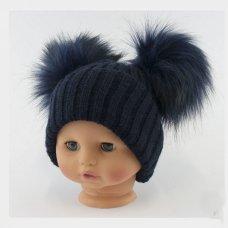 BW-0503-0332N-SM: Baby Navy Double Pom-Pom Hat (0-6 Months)