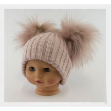 BW-0503-0332RG-SM: Baby Rose Gold Double Pom-Pom Hat (0-6 Months)