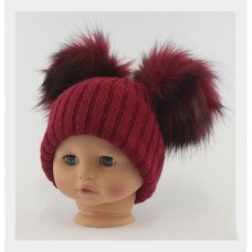 BW-0503-0332R-SM: Baby Red Double Pom-Pom Hat (0-6 Months)