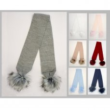 BW-0503-0454: Childrens Scarf With Pom Poms