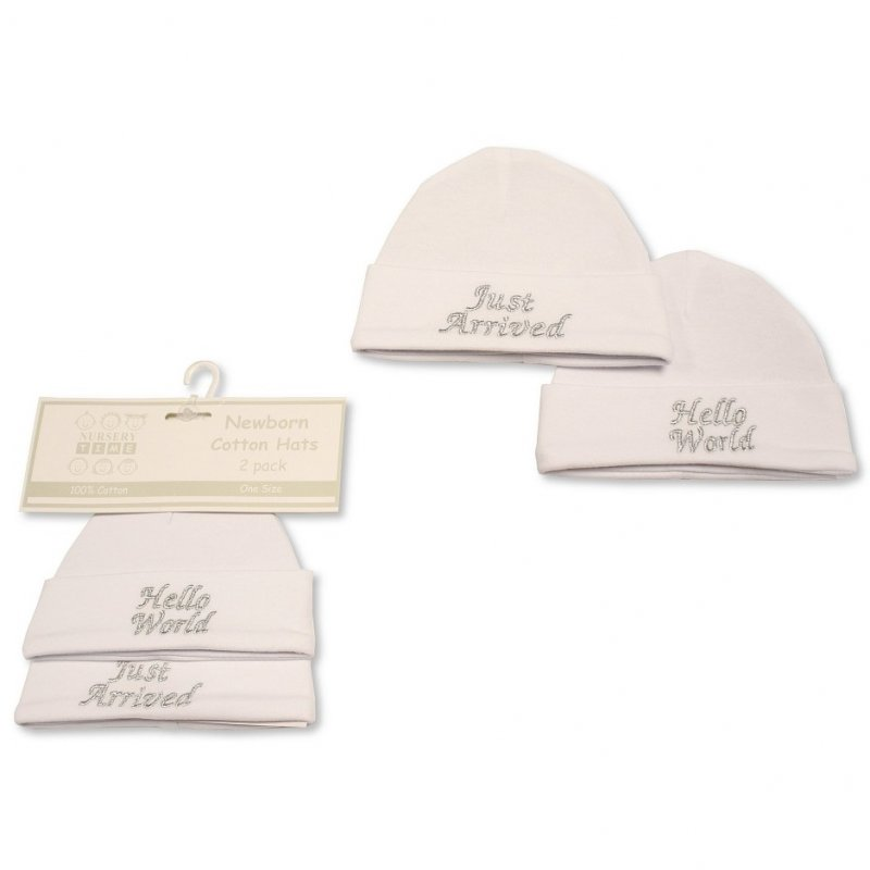 BW-0503-0479: Baby Hats 2-Pack - Hello World/ Just Arrived