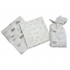 BW-0503-0528G: 2 Pack Muslin Squares In A Gift Bag- Grey