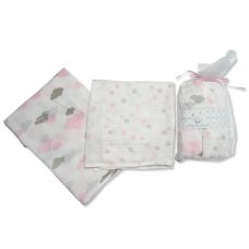 BW-0503-0528P: 2 Pack Muslin Squares In A Gift Bag- Pink