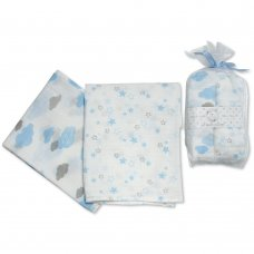 BW-0503-0528S: 2 Pack Muslin Squares In A Gift Bag- Sky