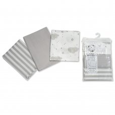 BW-0503-0529G: 3 Pack Design Muslin Squares- Grey