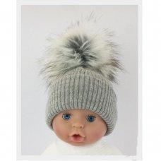 BW-0503-0606G-MED/LRG: Baby Grey Pom-Pom Hat (6-18 Months)
