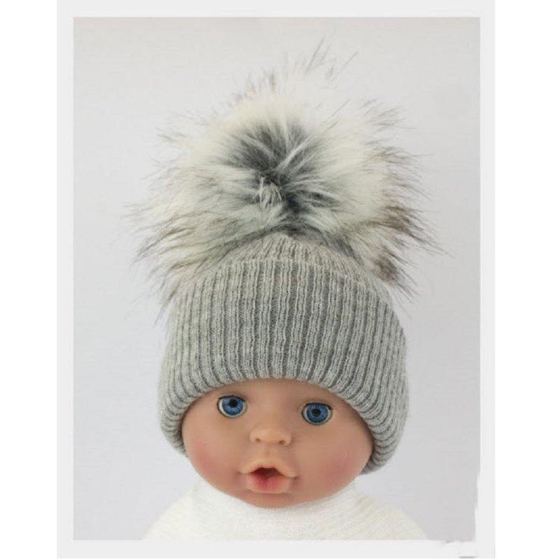 BW-0503-0605G-ES/SM: Baby Grey Pom-Pom Hat (0-6 Months)