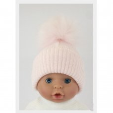 BW-0503-0606P-MED/LRG: Baby Pink Pom-Pom Hat (6-18 Months)