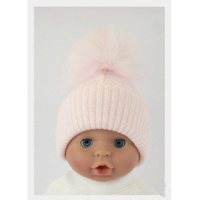 BW-0503-0605P-ES/SM: Baby Pink Pom-Pom Hat (0-6 Months)