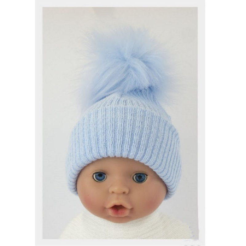 BW-0503-0605S-ES/SM: Baby Sky Pom-Pom Hat (0-6 Months)