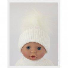 BW-0503-0606W-MED/LRG: Baby White Pom-Pom Hat (6-18 Months)