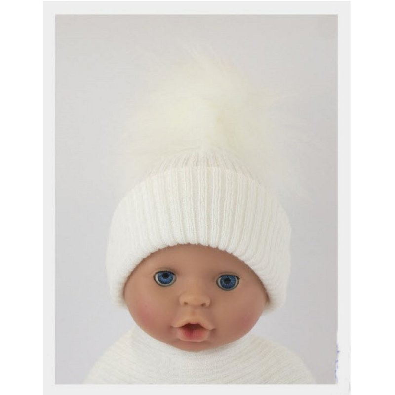 BW-0503-0605W-ES/SM: Baby White Pom-Pom Hat (0-6 Months)