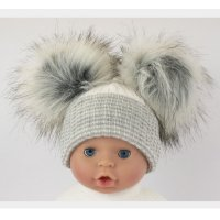 BW-0503-0607G: Baby Grey Double Pom-Pom Hat (One Size)