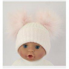 BW-0503-0607P: Baby Pink Double Pom-Pom Hat (One Size)