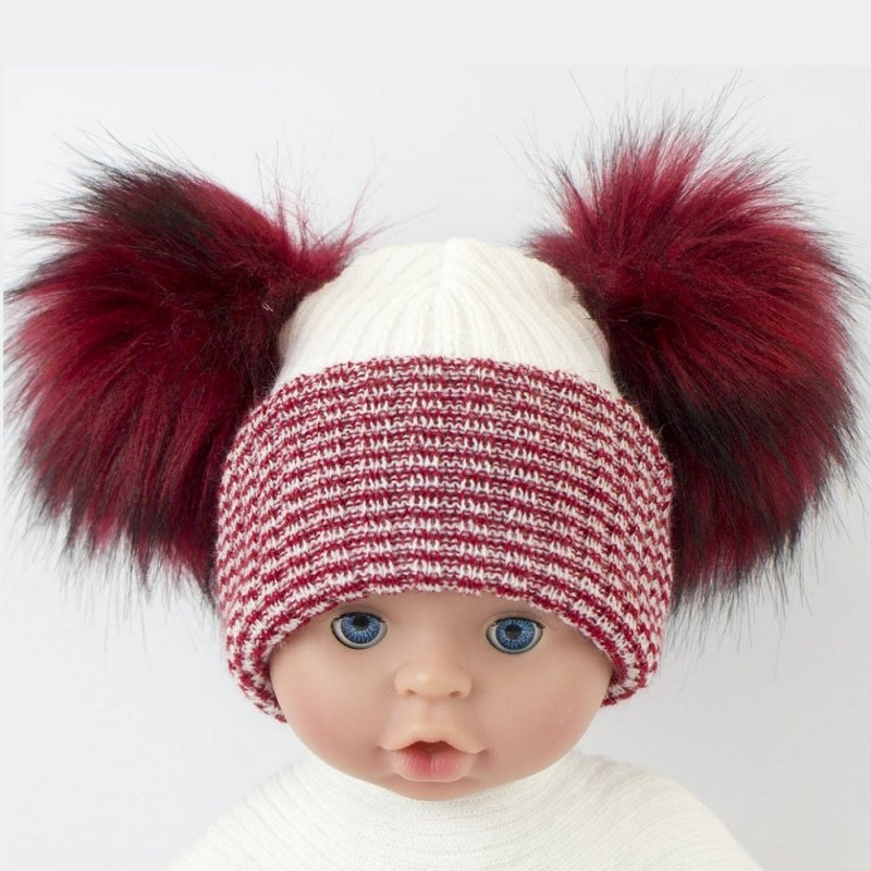 BW-0503-0607R: Baby Red Double Pom-Pom Hat (One Size)