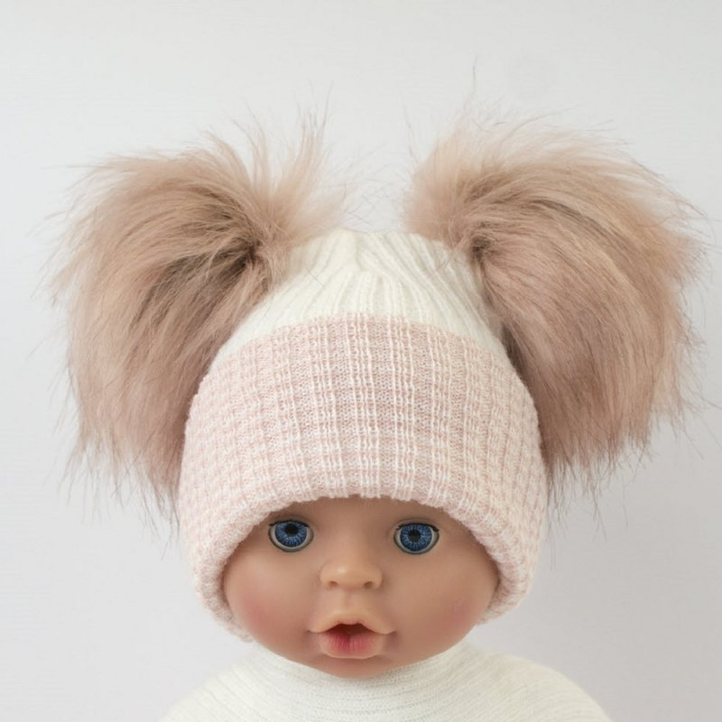 BW-0503-0607RG: Baby Rose Gold Double Pom-Pom Hat (One Size)